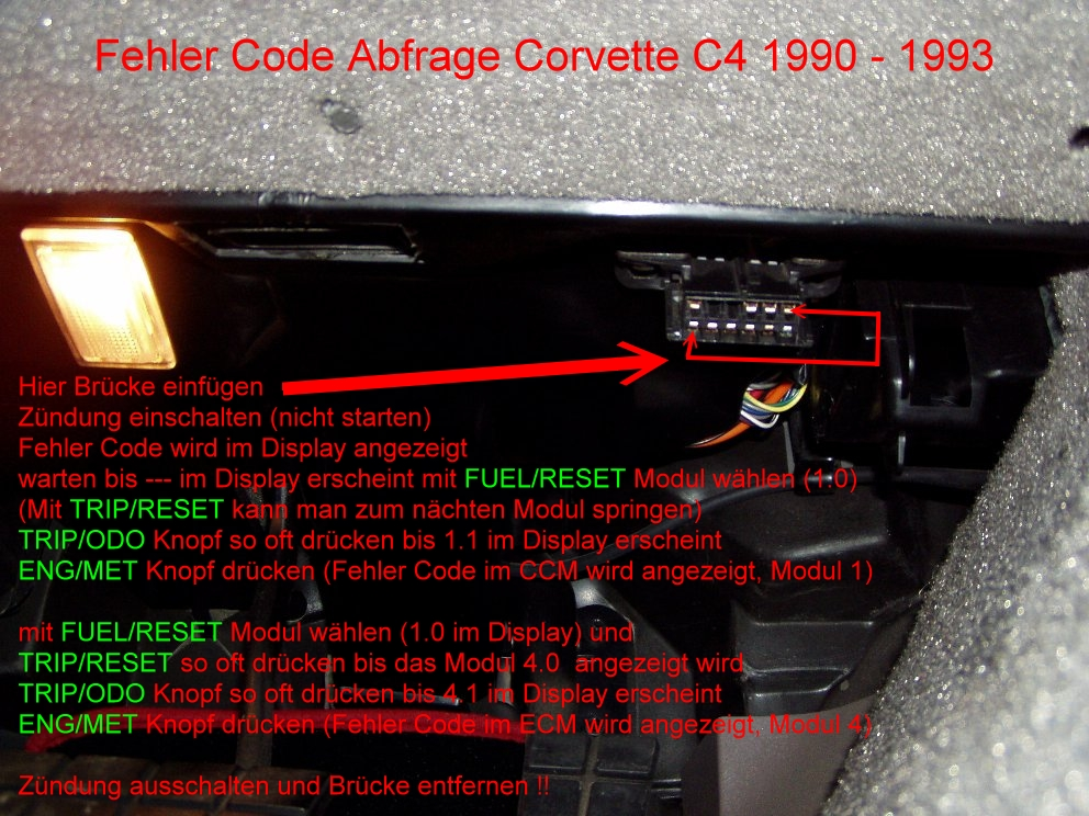 Chevrolet Corvette C4 Diagnose System